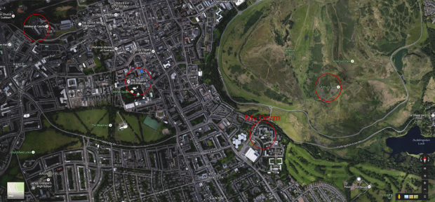 Map of the central area of Edinburgh. I've circled my dorm, the University, Arthur's Seat, and the Castle.